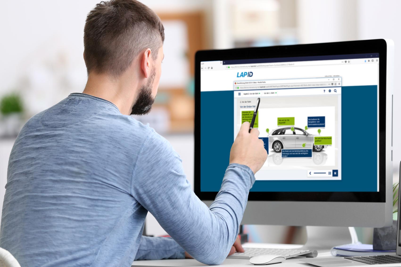 Durchführung der Fahrerunterweisung von LapID am Computer