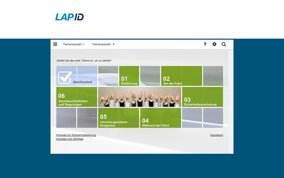 Fahrerunterweisung von LapID Übersichtsseite