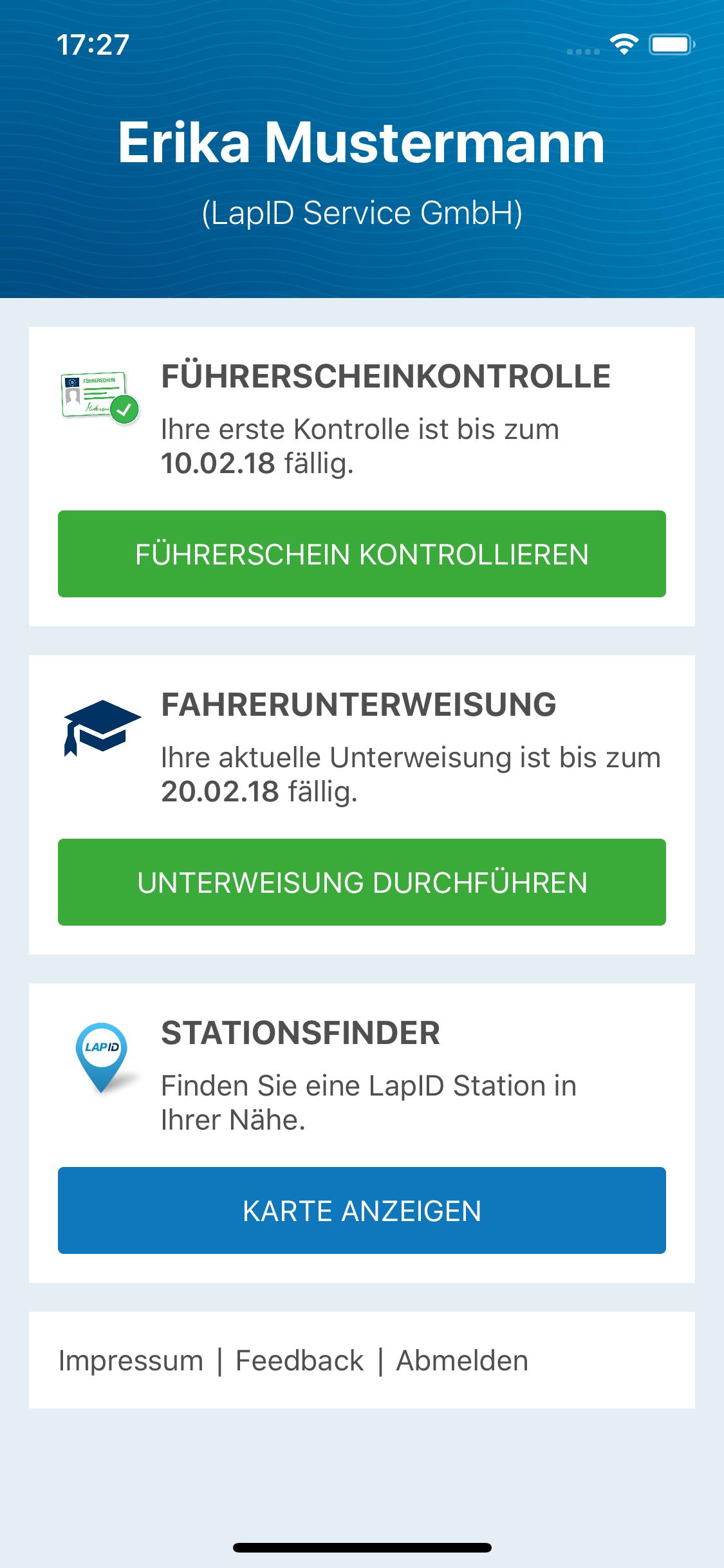 Driver App Übersicht