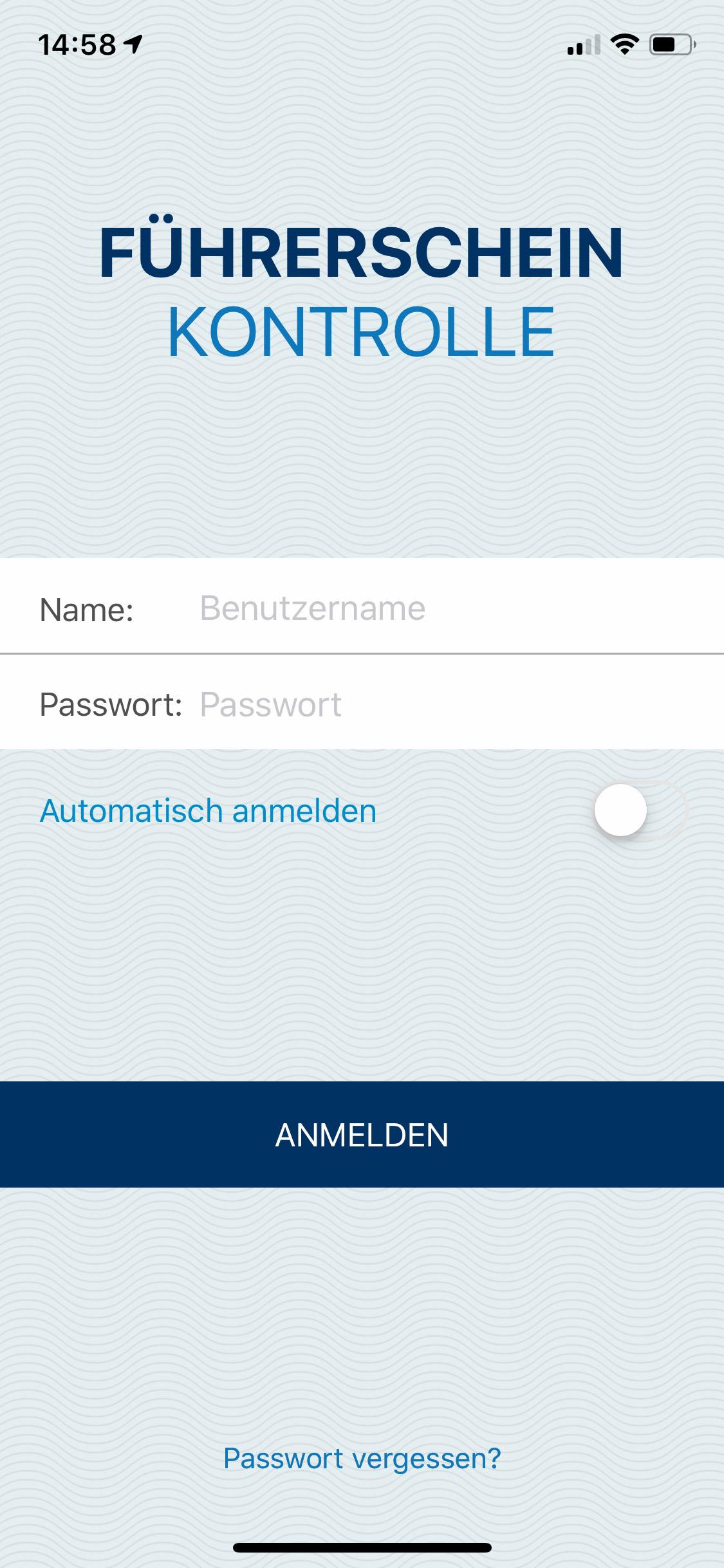 Anmeldebildschirm Manager App
