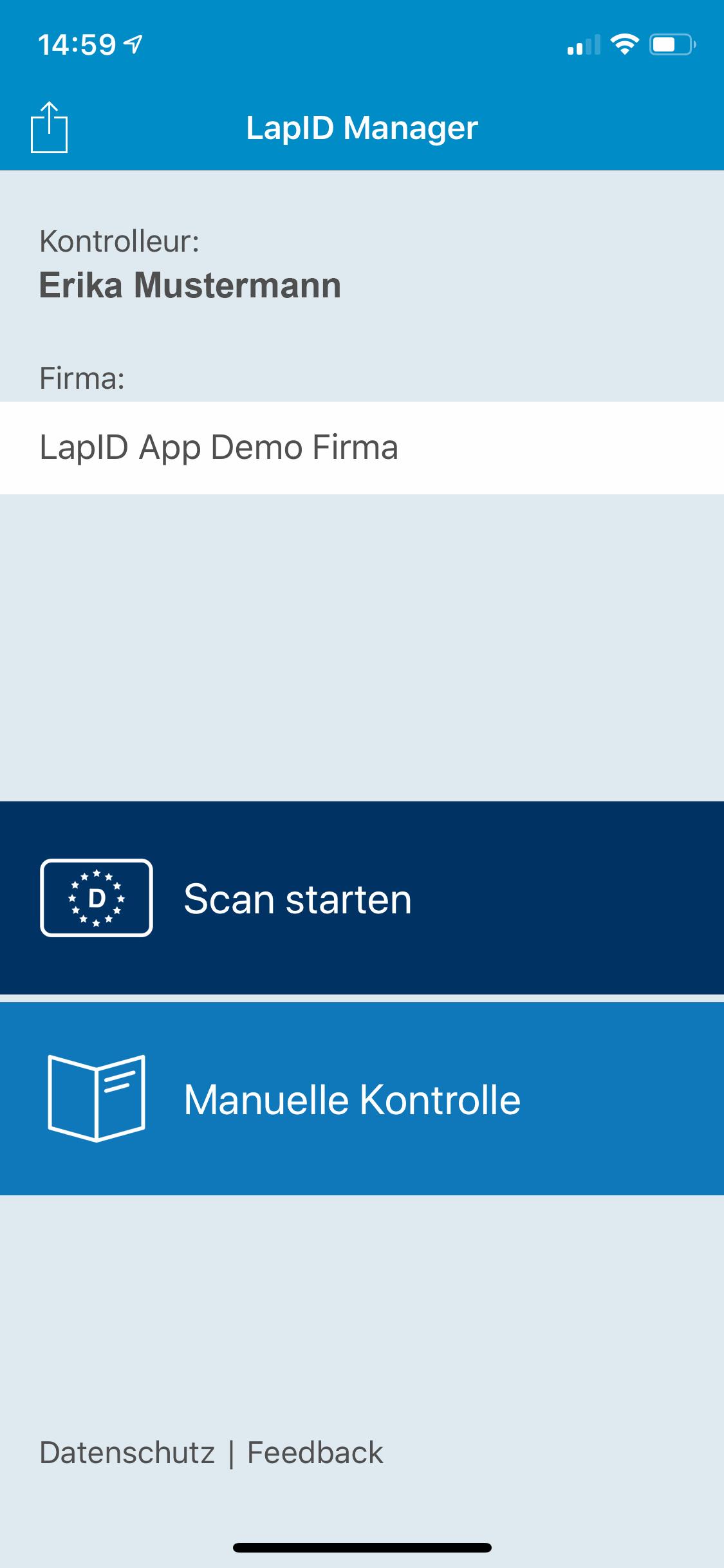 Übersicht Manager App